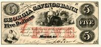 1863 Macon Georgia Savings Bank $5.00 Five Dollar Obsolete Note Grading XF