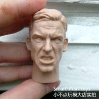 Unpainted 1/6 Scale soldier man Head Sculpt unpainted Facial expression 1.0