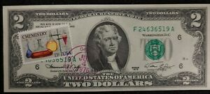 1976 $2 FRN ERROR NOTE FIRST DAY OF ISSUE CHEMISTRY STAMP 13c UNCIRCULATED SLIGH