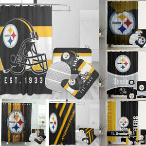Pittsburgh Steelers 4PCS Bathroom Sets Shower Curtain Non-slip Toilet Lid Cover