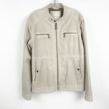 Zara Man Moto Faux Leather Jacket Men Size XL Off White Viscose