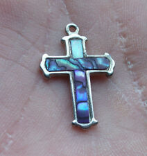 Silver Cross Pendant Charm With Rainbow Colored Stone Inside Blue Purple