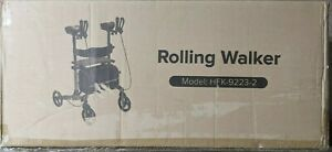 """BEYOUR WALKER Upright Rollator with 10"""" Front Wheels Seat Armrest in White"""