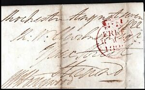 1822 Free Single Circle Letter Rochester 29 Rear Postal History Nice Wax Seal