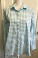 LANDS END Womens Button SHIRT Blue White Check Long Sleeves No Iron Size 14