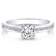 White Gold Finish 0.70Ct Round Cut Diamond Engagement Rings Sterling Silver H I