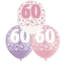 Pack of 6 Asstd Pink Glitz 60th Birthday / Age 60 Helium Quality Balloons - New