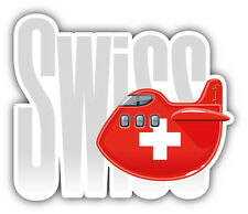 Switzerland Travel Plane Flag Label Car Bumper Sticker Decal 5'' x 4''