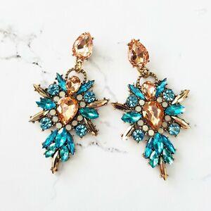 Statement Blue & Peach Crystal Dangle Drop Cluster Cocktail Chandelier Earrings