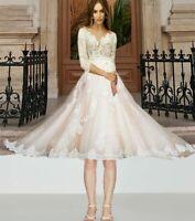 Kurzes Brautkleid Hochzeitskleid Kleid Braut 3/4 Ärmel BC753K_C 38