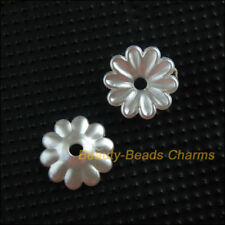 120 New Charms Acrylic Plastic Flower Spacer End Bead Caps White 10mm