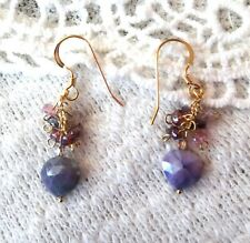 Purple Prehnite and Multi Color Spinel 14K Gold Filled Drop Earrings