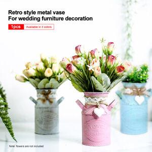 Vintage Metal Style Jug Vase Planter Flower Pitcher Pot Shabby Chic Table Decor
