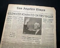 BARRY GOLDWATER Arizona Senator Presidential NOMINATION 1964 L.A. Ca. Newspaper