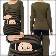 Umstandsmode Süße Sweatshirt mit Motiv Schwangerschaft Geschenk Khaki Bv1 Bevay