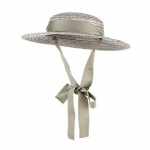 Women's Brim Flat Top Straw Hats Summer Ribbon With Chin Strap Boater Sun Caps