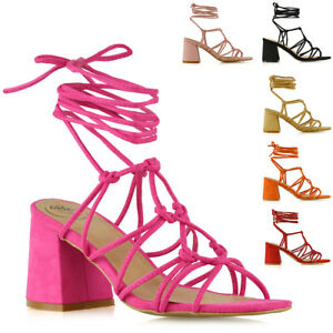Womens Mid Block Heel Sandals Ladies Strappy Caged Lace Up Ankle Open Toe Shoes