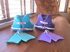 Aqua or Purple SWIM LIFEJACKET VEST Pink Buckles fits American Girl & Bitty Baby