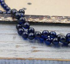 NELLYS Strang Bernstein azur blau ca. 7mm rund Perlen #10969