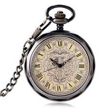 Antique Bronze Open Face Hand Wind Mechanical Men Pocket Watch Steampunk Wind Up