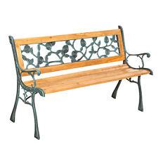 Banco de Jardín para Sentarse Muebles Madera Macizo Hierro Fundido Motivo Roses
