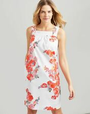 Joules Womens Darcie Sleeveless Woven Shift Dress - WHITE FLORAL Size 18