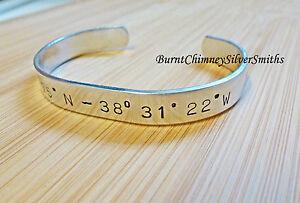 "Longitude Latitude GPS Cuff Custom Hand Stamped Aluminum Bracelet 3/8"" 6"" or 7"""