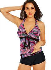 Maillot de bain femme - bikini Tankini Shorty boxer - Rose Mauve motifs -  T. 54