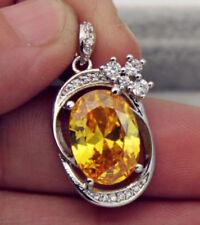 EPIC VAULT-Citrine Oval Topaz Zircon Swirl-18K White Gold Filled Pendant-10x14MM