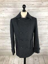 TOPMAN P Pea Coat - Medium - Grey - Wool Blend - Great Condition - Mens