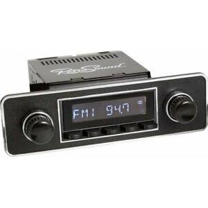 Retrosound Hermosa Black Euro B&C Classic Car AM FM Radio Bluetooth AUX USB