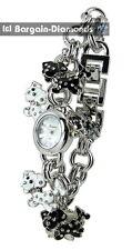 ladies teen puppy dog lovers black white charm watch bracelet silver