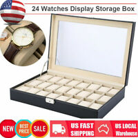 24 Slot PU Leather Watch Box Display Case Glass Top Jewelry Storage Organizer