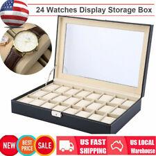24 Slot PU Leather Watch Box Display Case Glass Top Jewelry Storage Organizer