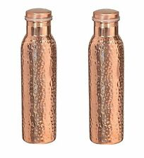 Traveller's 100 % Copper Water Bottle Health Benefits set of 2 Hammered