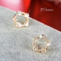 18K YELLOW GOLD GF MADE WITH SWAROVSKI CRYSTAL STUD CIRCLE ROUND EARRINGS