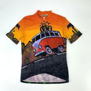 Vintage Sugoi Cycling Shirt Men's Size S Volkswagon VZ Surf Van 3/4 Zip Pullover