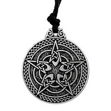 Antique Silver Celtic Knot Pentacle Pull Cord Pendant Necklace