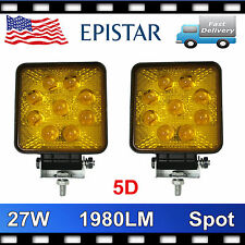 2X 27W LED Work Light Spot Warning Lamp Truck OffRoad 4X4 Tractor 5D LENS Amber