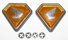 Orange Honda CB750K 1971-76 Side Cover Emblem Set w Clips 87126-341-000