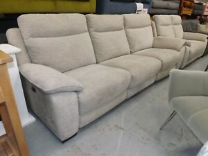 Designer natural fabric elec reclining 3 seater and standard 2 seater exshowroom