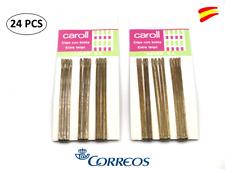 24 PCS CLIPS HORQUILLAS PELO - CLIPS CON BOLITA EXTRA LARGO COLOR RUBIO 7 CM
