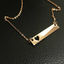 18K Yellow Gold Name Bar Necklace, Heart Cut Out Custom Engrave Name Necklace