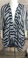 Talbots Open Front Short Sleeve Wrap Blue White Fringed Striped One Size