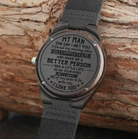 Engraved Quartz Wood Watches Men Groomsmen Leather Strap Nice Gift for Your Man