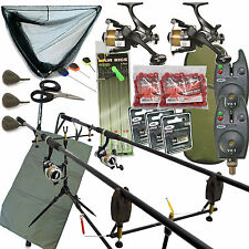 Complet Pêche à la carpe montage avec 2 moulinets CANNES alarmes épuisette
