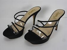 YSL YVES SAINT LAURENT RIVE GAUCHE SATIN PLASTIC SLIDE OPEN TOE SHOES WOMEN'S 38