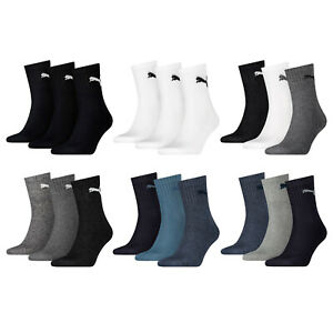 Puma Sports Socks 3 6 9 12 15 Pair Shorts Crew Ladies Men's - Choice of Colours
