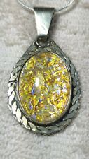 "MEXICO 1.7"" GOLD FOIL DICHROIC GLASS STERLING SILVER PENDANT NECKLACE 17"" 16g"