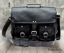 Medium Black Vintage Style Handcrafted Leather Satchel Briefcase Laptop Bag